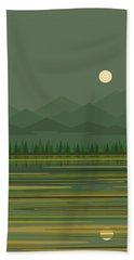 Beach Sheet featuring the digital art Mountain Lake Moon by Val Arie