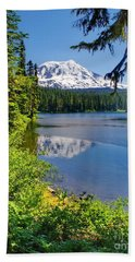Mountain Lake Reflections Beach Sheet