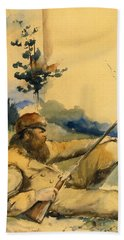Beach Towel featuring the drawing Mountain Man by Charles Schreyvogel