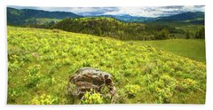 Mountain Meadow Impressionist Digital Art Beach Towel
