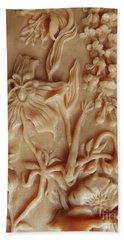 Mountain Meadow Original Clay Relief - Geranium Detail Beach Sheet by Dawn Senior-Trask
