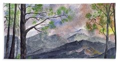 Mountain Morning Beach Towel by Terry Cork
