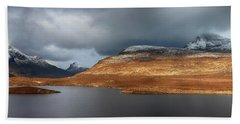 Beach Towel featuring the photograph Mountain Pano From Knockan Crag by Grant Glendinning