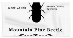 Mountain Pine Beetle Black On White Beach Towel