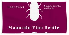 Mountain Pine Beetle White On Black Beach Towel