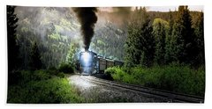 Beach Towel featuring the photograph Mountain Railway - Morning Whistle by Robert Frederick