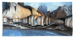 Mountain Reservoir Beach Sheet by Hal Tenny