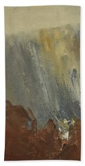 Mountain Side In Autumn Mist. Up To 90x120 Cm Beach Towel
