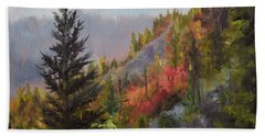 Mountain Slope Fall Beach Sheet by Lori Brackett
