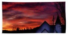 Beach Sheet featuring the photograph Mountain Sunrise And Church by Thomas R Fletcher