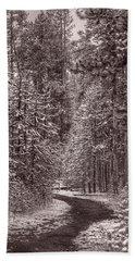 Mountain Trail Yellowstone Bw Beach Towel