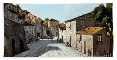 Beach Towel featuring the painting Mountain Village Main Street by Rosario Piazza