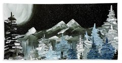 Beach Towel featuring the painting Mountain Winter Night by Tom Riggs