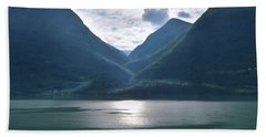 Mountains Along Lustrafjorden Beach Sheet by Terence Davis