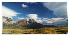 Mountains And Clouds In Patagonia Beach Towel