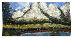 Mountains And Evergreens Beach Towel