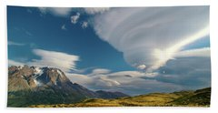 Mountains And Lenticular Cloud In Patagonia Beach Towel
