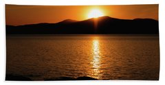 Mountains And River At Sunset Beach Towel