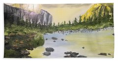 Mountains And Stream Beach Towel