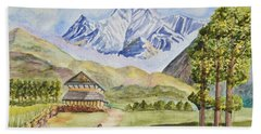 Mountains And Valley Beach Towel