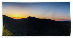 Mountains At Sunset Beach Towel by Ed Cilley