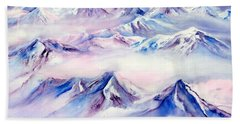 Flying Over Snowy Mountains Beach Towel