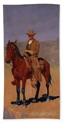 Mounted Cowboy In Chaps With Bay Horse Beach Towel