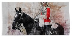 Mounted Household Cavalry Soldier On Guard Duty In Whitehall Lon Beach Towel