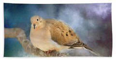 Beach Towel featuring the photograph Mourning Dove Of Winter by Darren Fisher
