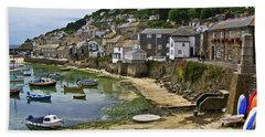 Mousehole Harbour, Cornwall Beach Towel