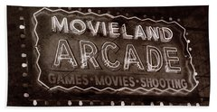 Beach Towel featuring the photograph Movieland Arcade - Gritty by Stephen Stookey