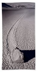 Moving Rocks Number 2  Death Valley Bw Beach Sheet by Steve Gadomski