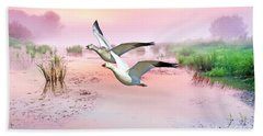 Mr. And Mrs. Snow Goose Beach Towel