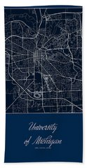 U Of M Street Map - University Of Michigan In Ann Arbor Map Beach Towel by Jurq Studio