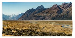 Beach Towel featuring the photograph Mt Cook And Tasman River  by Gary Eason