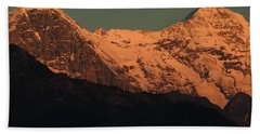Mt. Eiger And Mt. Moench At Sunset Beach Towel