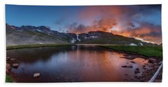Mt. Evans Summit Lake Twilight Beach Towel