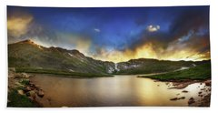 Beach Sheet featuring the photograph Mt. Evens Summit Lake Sunset by Chris Bordeleau