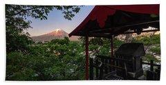 Mt Fuji From Ubuyagasaki Shrine Beach Towel