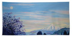 Mt Hood A View From Gresham Beach Towel by Lisa Rose Musselwhite