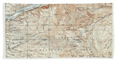 Mt. Hood And Environs Topographic Map  1911 Beach Towel by Daniel Hagerman