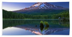 Mt. Hood Reflection At Sunset Beach Towel