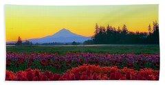 Mt. Hood Sunrise And Tulip Field Beach Sheet