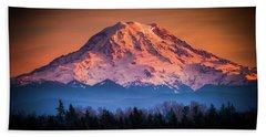 Mt. Rainier Sunset Beach Towel