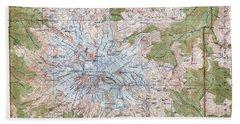 Mt. Rainier Topographic Map 1915 Beach Towel by Daniel Hagerman