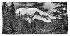 Beach Towel featuring the photograph Mt Rainier View - Bw by Stephen Stookey