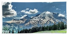 Mt. Rainier Wildflowers Near Sunrise Point Beach Towel
