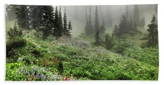Mt Rainier Wildflowers Beach Towel