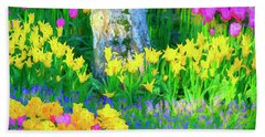 Mt Vernon Tulip Garden 1 Beach Towel