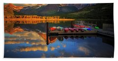 Mt. Wilbur And Swiftcurrent Lake Morning Beach Towel